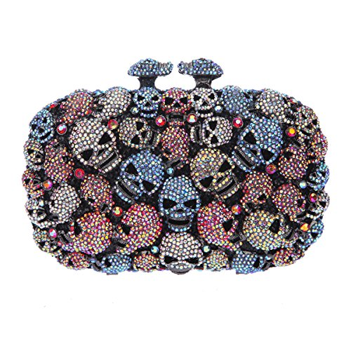 Bonjanvye Studded Skull Shape Clutch for Girls Halloween Kisslock Evening Bags Blue