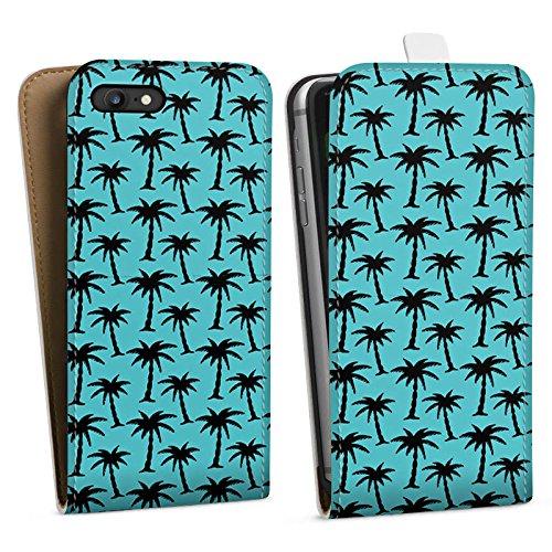Apple iPhone X Silikon Hülle Case Schutzhülle Palmen Muster Blau Downflip Tasche weiß