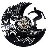 OOFAY Clock@ Wanduhr Vinyl Schallplattenuhr Surfer Kreisförmig Kreativität Design-Uhr Wand-Deko Familien Zimmer Thema Schwarz Durchmesser 30Cm
