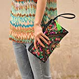 Sanwood Womens Retro Ethnic Embroider Purse Wallet Phone Bag (Butterfly Flower)