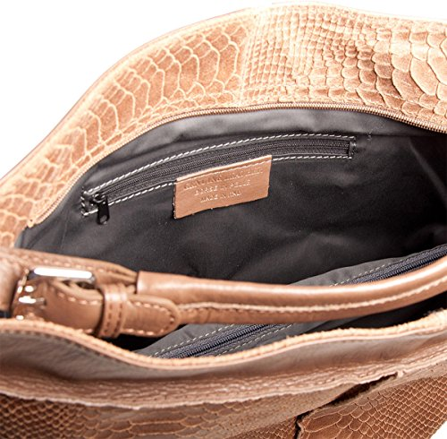 Pelle Italy Damen Beuteltasche Shopper Leder 34x32x17 cm (BxHxT), Farbe:Rot Blau