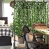 Amkun Artificial Hanging Plants Fake Vines Silk Ivy Leaves Greenery Garland for Wedding Kitchen Wall Outdoor Party Festival Decor Pack of 12 (New Green)