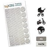 Pegatinas luminosas SafeKIDS, BLANCO, 13 unidades para cochecitos de bebé, bicicletas, cascos de ciclista y más
