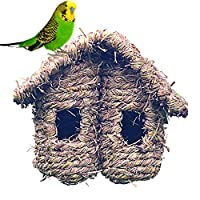 Ljourney Straw Grass Woven Bird Nest Cage, Double Sloping Roof House Shaped Handmade Bird Nest Shelter for Humming Bird Sparrow Swallow Small Birds