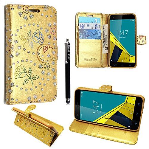Preisvergleich Produktbild für Alcatel Onetouch Pixi 4 (4, 0 Zoll) Hülle,  Kamal Star® Kunstleder Tasche PU Schutzhülle Tasche Leder Brieftasche Hülle Case Cover + Stylus (Rose Gold Diamond Book)