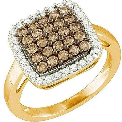 Bague Femme 1.07 ct 10 ct 471/1000 Or Rose Rond Blanc & Cognac Diamants 1 ct