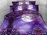LifeisPerfect 3 Stück Lila Lust auf Mond und im Alter Baum HD Digital Print 3D-Bettbezug Setzt Rot Grün Rosa Bäume Bettwäsche Kinder Single Queen Einstellen