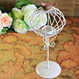 MagiDeal Rustic Round Birdcage Tea Light Candle Holder Wedding Home Decor Lighting Stand - White, 13x13x32cm