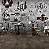 Custom 3d mural Gray cement black white brick wall retro wallpaper bar grill fast food restaurant beer shop 3D wallpaper mural,250cmX175cm