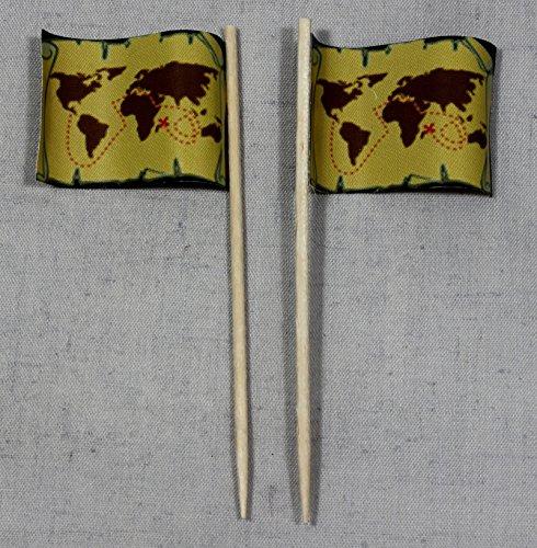 Party-Picker Flagge Pirat (5) Schatzkarte Papierfähnchen in Profiqualität 50 Stück Beutel Offsetdruck Riesenauswahl aus eigener Herstellung - 5 Stück Piraten