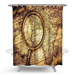 """kisy antiguo mapa del mundo impermeable baño cortina de ducha 3d lupa Shabby Chic brújula náutico navegación vela de la Travesía mapa baño cortina de ducha tamaño estándar 70""""x 70,"""" vintage naranja"""