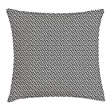 RAINNY Chevron Throw Pillow Cushion Cover, Rhythmic Diagonal Zig Zag Structure Monochrome Geometrical Lattice Pattern, Decorative Square Accent Pillow Case, 18 X 18 inches, Black and Cream