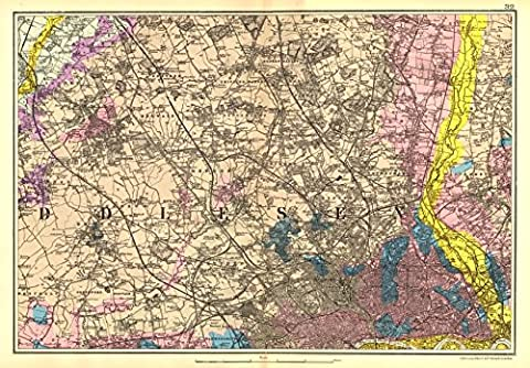 NW LONDON GEOLOGICAL: Westminster Islington Brent Ealing Camden.BACON, 1902 map