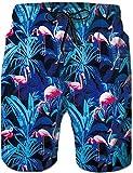 Rave on Friday Herren Badeshort Blauer Flamingo Sommer Cool Schwimmhose Schnelltrocknend Elastizität Str
