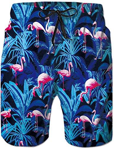 Rave on Friday Herren Badeshort Blauer Flamingo Sommer Cool Schwimmhose Schnelltrocknend Elastizität Strand Surf Board Shorts XXL - Cool Flamingos