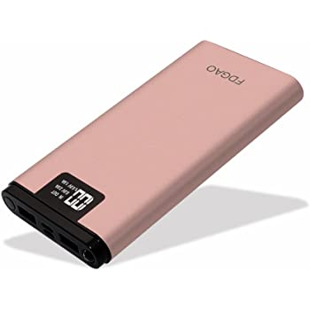 FDGAO 16000 mAh Caricatore Portatile Alta Capacità Power Bank con Uscita USB Doppia, Batteria Esterna con Display Digitale Smart Charging Technology per Tutti Gli Smartphone e Altri Dispositivi USB(Oro rosa)