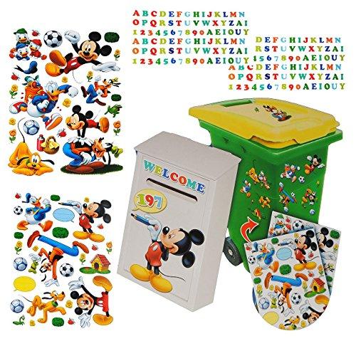 Preisvergleich Produktbild 229 tlg. Set Aufkleber für Mülltonne + Briefkasten - Disney Mickey Mouse Donald - Wasserfest Sticker - für Innen & Außen - Wetterfest - Playhouse Entenhausen