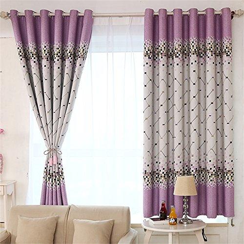 HOME UK- Ein Satz 2 PC volle Schattierung-Tuch-Schlafzimmer-chinesische Art-Druck-Gitter-Fertigprodukte ( farbe : Lila , größe : 2*2m (width*height) ) (Gitter-duschvorhang)