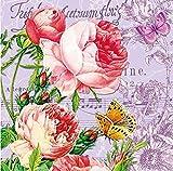 20 Cocktail Servietten Rosen Blumen Geburtstag Vintage Blumenmotiv Musik Noten Schmetterling Butterfly Butterflies Sommer 25 x 25 cm