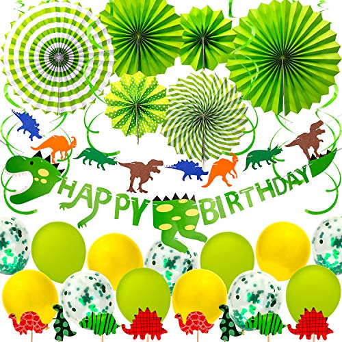 SAVITA Dinosaurier Theme Party Supplies Dinosaurier Happy Birthday Party Dekorationen grüner Kleiner Dino Party Favors Set für Kinder Geburtstag, Babyparty (Party Supplies Dino Kleine)