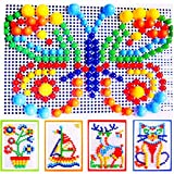 Itian 296 Pezzi Fungo del Chiodo Puzzle Pegboard con 6 Colori per i Bambini i Giocattoli in Anticipo Educativi immagine