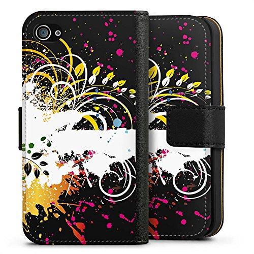 Apple iPhone X Silikon Hülle Case Schutzhülle Ornament Flower Bunt Sideflip Tasche schwarz