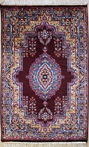 Rugstc 91 x 152 tappeto persiano pak con pila in seta e lana - fantasia floral   100% originale annodato a mano in melanzana, grigio & oro   tappeto rettangolare 91 x 152 di alta qualità