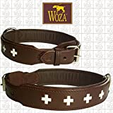 Woza Exclusive HUNDEHALSBAND 3,8/70CM Swiss Berner SENNNHUND Vollleder BRAUN Rindleder Nappa Handmade Collar