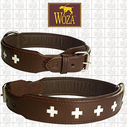 Woza Exclusive HUNDEHALSBAND 3,8/70CM Swiss Berner SENNNHUND SATTLERNAHT Vollleder BRAUN Rindleder Nappa Handmade Collar