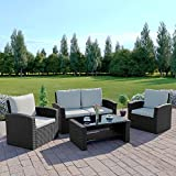 New Rattan Wicker Weave Garden Furniture Patio Conservatory Sofa Set INCLUDES OUTDOOR PROTECTIVE COVER (Black)