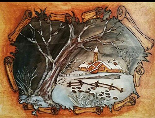 bazargiusto Rahmen in Holz Pappel-Die Nacht des großen Baum 110X 80X 8 -
