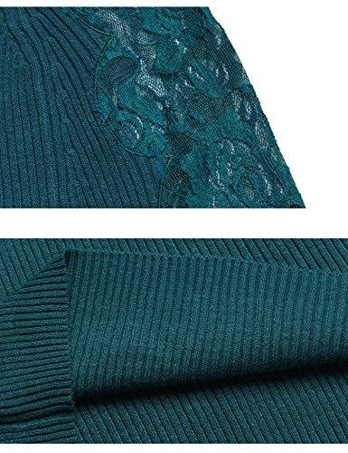 Abollria Maglietta Donna V Scollo Maglia con Pizzo Maglieria Elegante con Maniche Lunghe Verde