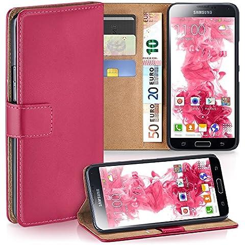 Bolso OneFlow para funda Samsung Galaxy S5 Mini Cubierta con tarjetero | Estuche Flip Case Funda móvil plegable | Bolso móvil funda protectora accesorios móvil protección paragolpes en Rosa
