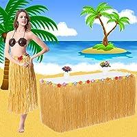 MMTX Hawaiian Luau Falda de Mesa, 9 pies Hibiscus Grass Hawai Summer Garden BBQ Tropical Beach Jardín Tropical Luau Party Tiki Party Decoration (Amarillo)