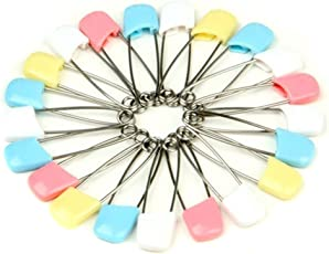 LQZ 20Pcs/Set Child Infant Kids Cloth Diaper Pins Stainless Steel Traditional Safety Pin Safe Hold Clip Locking Cloth