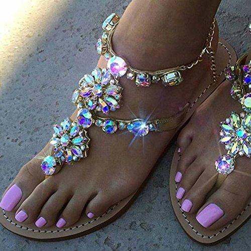 Zormey 2017 Frau Sandalen Damenschuhe Strass Ketten Tanga Gladiator Flache Sandalen Chaussure Femme Ete Plus Größe 46 Tenis Feminino 8.5