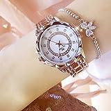 ساعة يد عصرية لامعة مرصعة بالالماس بعرض انالوج وسوار وهيكل من المعدن للنساء من انسيلف، حركة كوارتز
