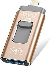 USB-Flash-Laufwerk 32 GB iPhone Memory Stick, Auanoz Thumb-Laufwerk USB 3.0 Memory Stick kompatibel iPhone iPad Android und Computer (Gold-32GB-3.0)