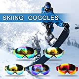 Festnight Winter Ski Goggles UV400 Protection Dual Lens Snowboard Goggles Spherical Snow Skating Skiing Sports Goggle Detachable Lens Goggles