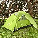 Bessport Tente Camping 1 Personne, Ultra Légère Tente Dôme Deux Portes, Facile à Installer Grande Tente Anti UV Imperméable pour Montagne Randonnée Exterieur, 230 x 100 x 114cm (Green)