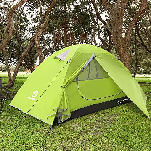 Bessport tenda campeggio per 1 posti tenda, impermeabile a due porte con borsa per il trasporto facile da montare, tende per zaino in spalla per viaggi di coppia, escursioni outdoor (limeade)