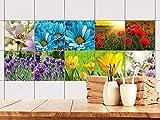 GRAZDesign 770509_15x15_FS10st Fliesen-Aufkleber Set Blumen/Natur | Wellness -Bereich | Dusch-Fliesen überkleben (15x15cm//Set 10 Stück)