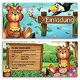 (8 x) Einladungskarten Kindergeburtstag Bär Einschulung Geburtstag Einladungen