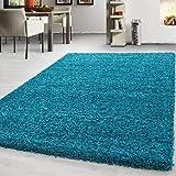 Teppich Hochflor Shaggy Teppich Unicolor einfarbig Teppich farbecht Pflegeleicht, Maße:100 cm x 200 cm, Farbe:Türkis