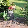 Relaxdays Blumenständer Metall, pulverbeschichtet, 3 Ablagen, Pflanzen, Dekorativ, 50 cm hoch, Pflanzentreppe, schwarz von Relaxdays auf Du und dein Garten