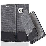 Cadorabo Hülle für Samsung Galaxy S6 - Hülle in GRAU SCHWARZ – Handyhülle mit Standfunktion und Kartenfach im Stoff Design - Case Cover Schutzhülle Etui Tasche Book