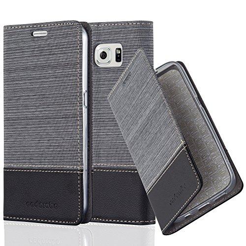 Cadorabo custodia libro per samsung galaxy s6 in grigio nero - con vani di carte, funzione stand e chiusura magnetica - portafoglio cover case wallet book etui protezione