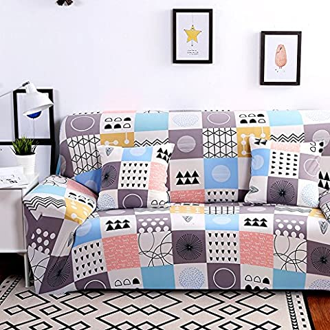 Hysenm 1/2/3/4 Seater Sofa Cover European Style Home Décor Stretch Elastic Protector Washable Durable Dust Proof Soft Sofa Slipcover Couch Cover Easy Fit, Lattice 3 seater