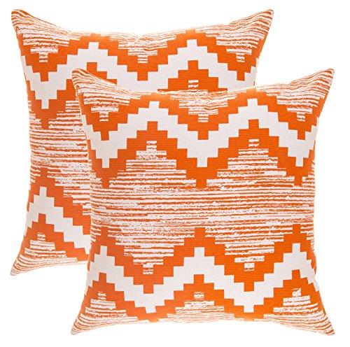 TreeWool, (Pack Of 2) Cotton Canvas Ikat Chevron Accent Decorative Cushion  Covers (40 X 40 Cm; Orange U0026 White) Part 88