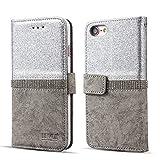 Für iPhone 5 5S SE Hülle,Prämie Bling Glitzern Funkeln Diamant Folio Leder Brieftasche Handyhülle mit [Standfunktion] [Kartenfächer] [Magnetverschluss] Flip Notizbuch Schlank Schutz Haut Schutzhülle für iPhone 5/5S/SE [Silber]